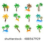 colorful vector palm tree icons ...   Shutterstock .eps vector #488567929