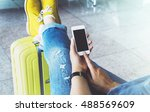 young hipster girl at airport... | Shutterstock . vector #488569609