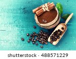 roasted coffee beans with... | Shutterstock . vector #488571229
