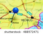 Small photo of Alytus pinned on a map of Lithuania
