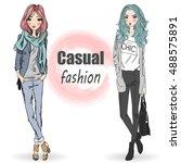 two cute  fashion  cartoon... | Shutterstock .eps vector #488575891