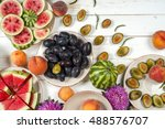 colorful fruit set of purple ... | Shutterstock . vector #488576707