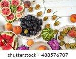colorful fruit set of purple ... | Shutterstock . vector #488576707