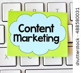 Small photo of Content marketing./ Content marketing card with information on the keyboard