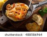 a pan of delicious fresh... | Shutterstock . vector #488586964