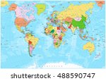 detailed political world map... | Shutterstock .eps vector #488590747