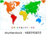 world map with colorful... | Shutterstock .eps vector #488590855
