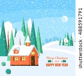 winter landscape with powdered...   Shutterstock .eps vector #488591791