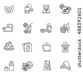tea icons set. tea beverage... | Shutterstock .eps vector #488592601