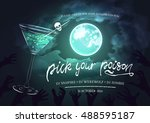 halloween party bash invitation ... | Shutterstock .eps vector #488595187