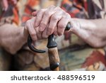 old woman sitting with her... | Shutterstock . vector #488596519