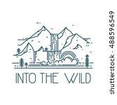 into the wild. vector line... | Shutterstock .eps vector #488596549