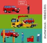 worried driver calling roadside ... | Shutterstock .eps vector #488601301