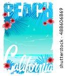 california beach t shirt... | Shutterstock .eps vector #488606869
