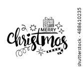 merry christmas lettering.... | Shutterstock .eps vector #488610235
