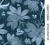 seamless flowers background... | Shutterstock .eps vector #488612881