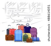 airport luggage vector... | Shutterstock .eps vector #488614051