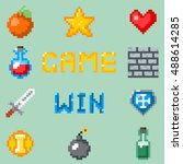 pixel games icons for web  app... | Shutterstock .eps vector #488614285