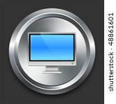 monitor icon on metal internet... | Shutterstock .eps vector #48861601
