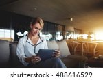 female financier is reading... | Shutterstock . vector #488616529