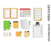 collection of vector notebooks... | Shutterstock .eps vector #488616685