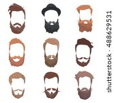 hair and beards detailed set.... | Shutterstock .eps vector #488629531