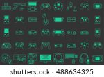video game icons set. flat thin ... | Shutterstock .eps vector #488634325