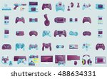 video game icons set. flat... | Shutterstock .eps vector #488634331