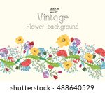 retro flower background concept.... | Shutterstock .eps vector #488640529