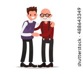 elderly father and adult son... | Shutterstock .eps vector #488643349
