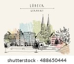 hanseatic city of  lubeck ... | Shutterstock .eps vector #488650444