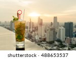 mojito cocktail on table in... | Shutterstock . vector #488653537