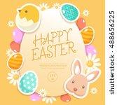 happy easter elements    vector ... | Shutterstock .eps vector #488656225