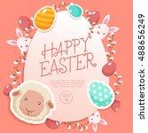 happy easter elements    vector ... | Shutterstock .eps vector #488656249