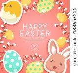happy easter elements    vector ... | Shutterstock .eps vector #488656255