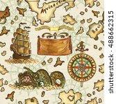 seamless nautical background... | Shutterstock . vector #488662315