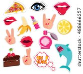fashion patch badges with lips  ... | Shutterstock .eps vector #488666257