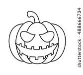 Pumpkin Lantern Icon In Outlin...