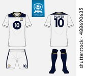 set of soccer jersey or... | Shutterstock .eps vector #488690635