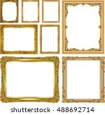 set of gold photo frame with... | Shutterstock .eps vector #488692714
