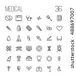 set of medical icons in modern... | Shutterstock .eps vector #488697007