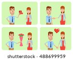 set of man and woman characters ... | Shutterstock .eps vector #488699959