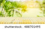blur image of wood table and ... | Shutterstock . vector #488701495