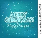 christmas greeting card vector... | Shutterstock .eps vector #488704654