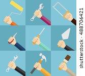 vector hands with screwdriver... | Shutterstock .eps vector #488706421