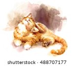 Watercolor Tabby Cat Laying...