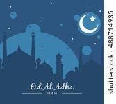 eid adha mubarak greeting card... | Shutterstock .eps vector #488714935