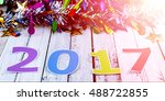 happy new year 2017   text on... | Shutterstock . vector #488722855