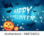 happy halloween design.... | Shutterstock . vector #488726011