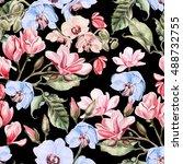 beautiful watercolor pattern... | Shutterstock . vector #488732755